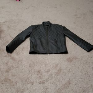 Quilted pattern faux leather jacket moto